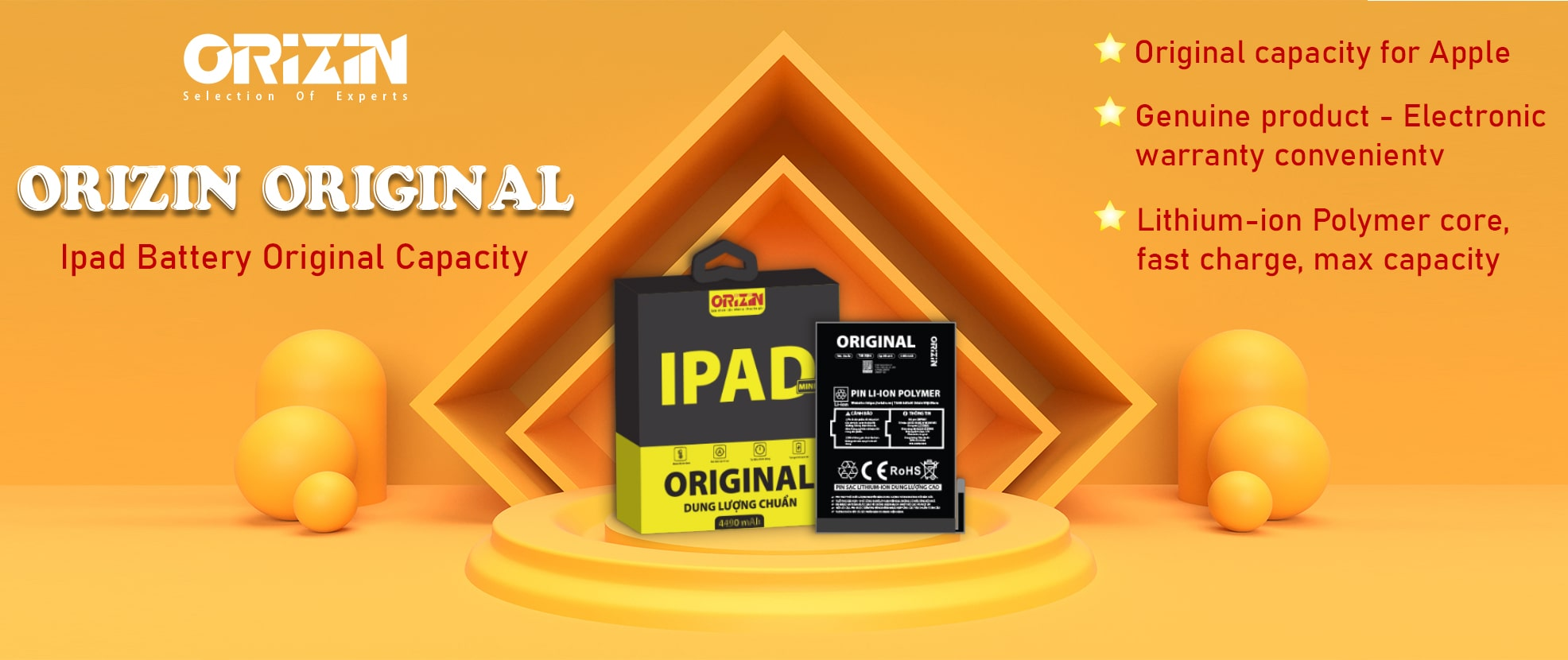 Orizin Original Ipad Battery Banner